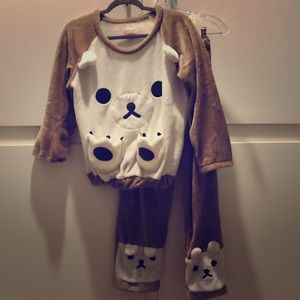 Other - Kids Velvet Plush Doggie Pajama Set